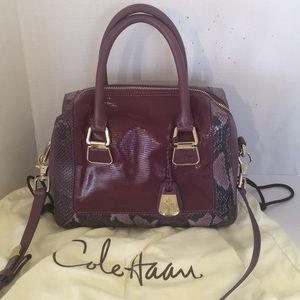 New Cole Haan Royal Berry Print Charlotte satchel